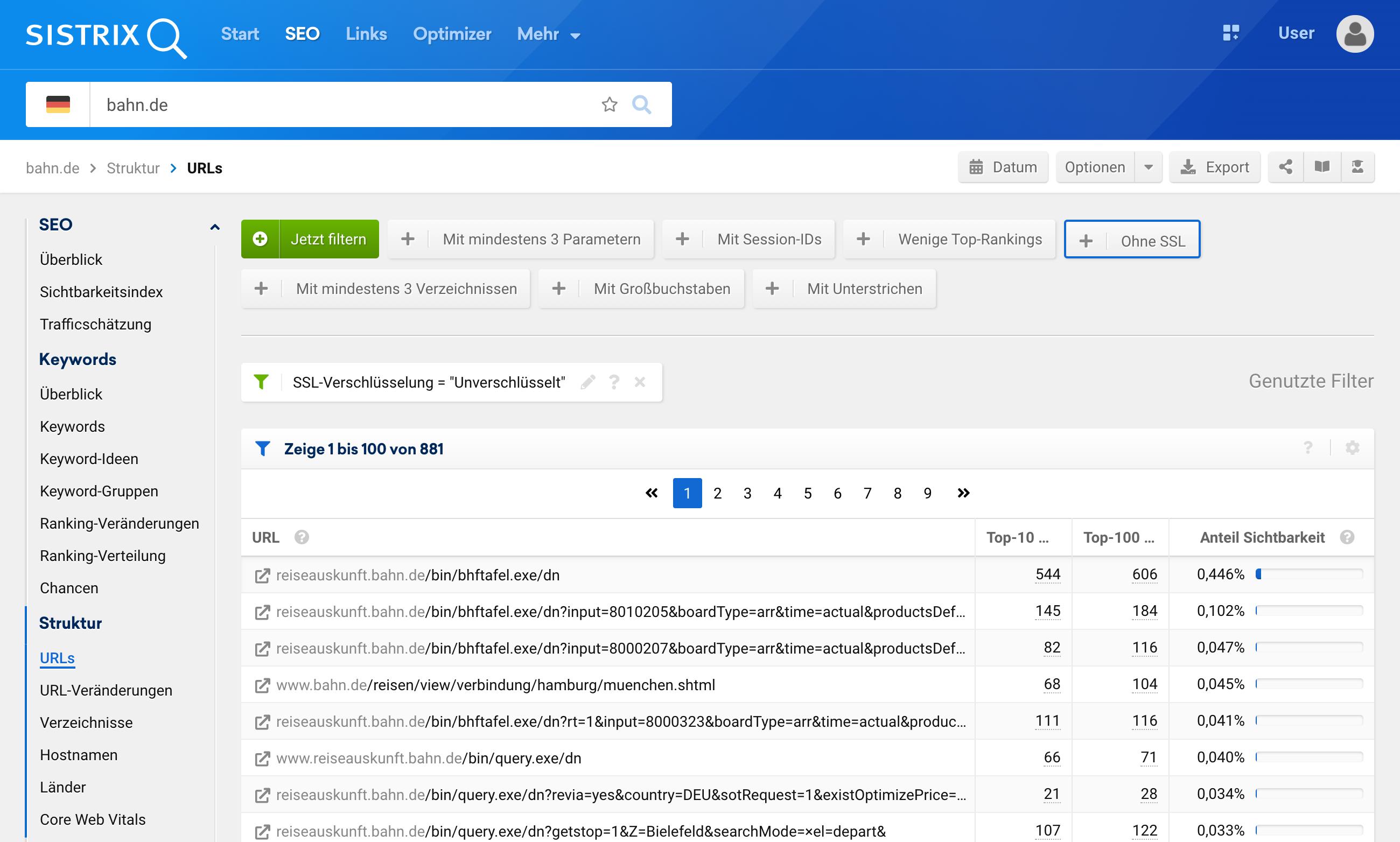 """Übersicht der gefundenen URLs für bahn.de mit dem eingestellten Filter """"ohne SSL""""."""
