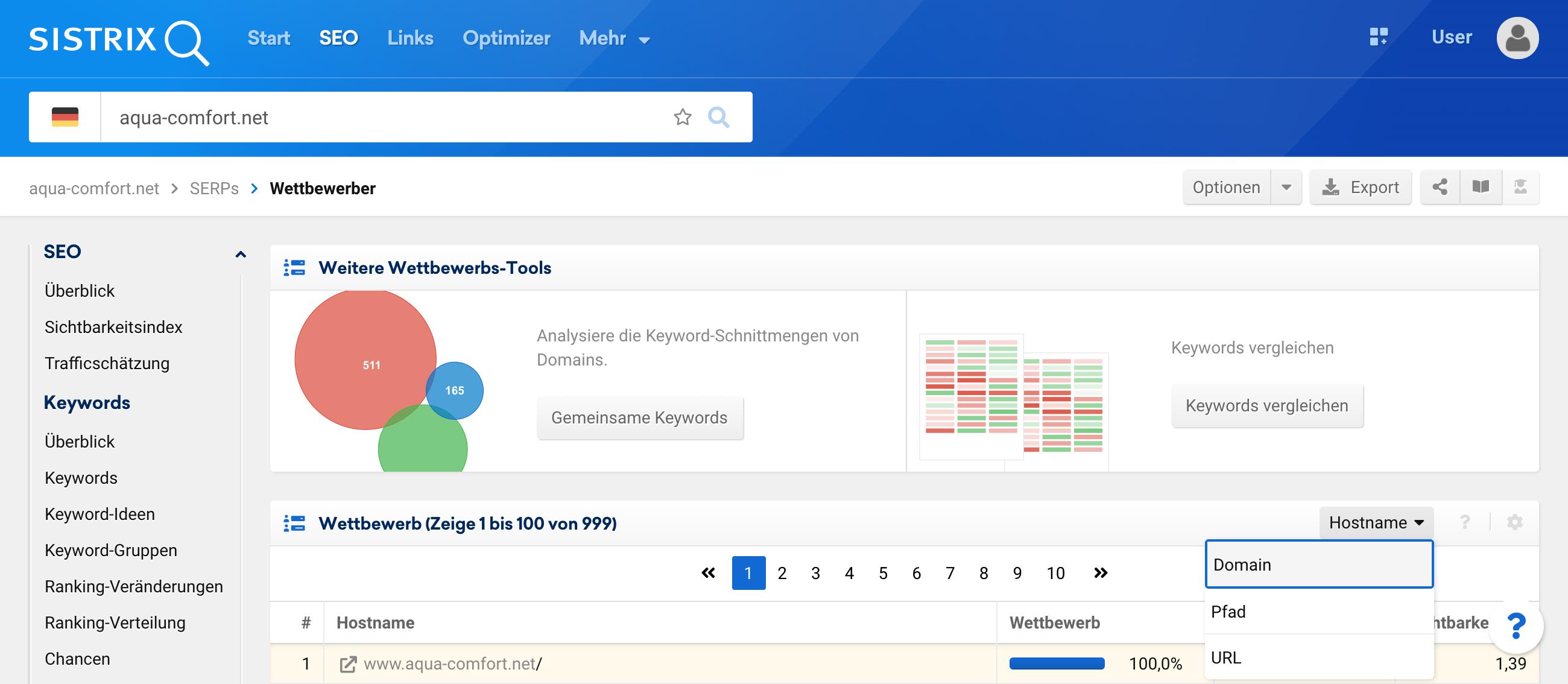 Wettbewerber auf Domainebene finden in der SISTRIX Toolbox.