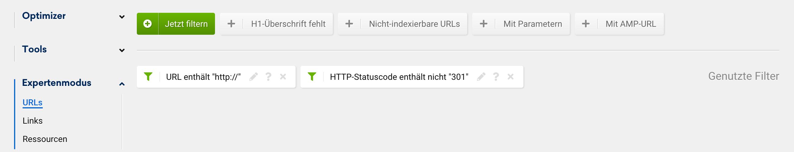 """Optimizer Expertenmodus-Unterpunkt URLs mit Filtern """"URL enthält http://"""" und """"HTTP-Statuscode enthält nicht 301""""."""