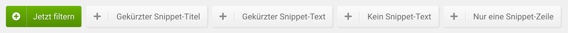 Filter für die Funktion SERP-Snippets in der SISTRIX Toolbox