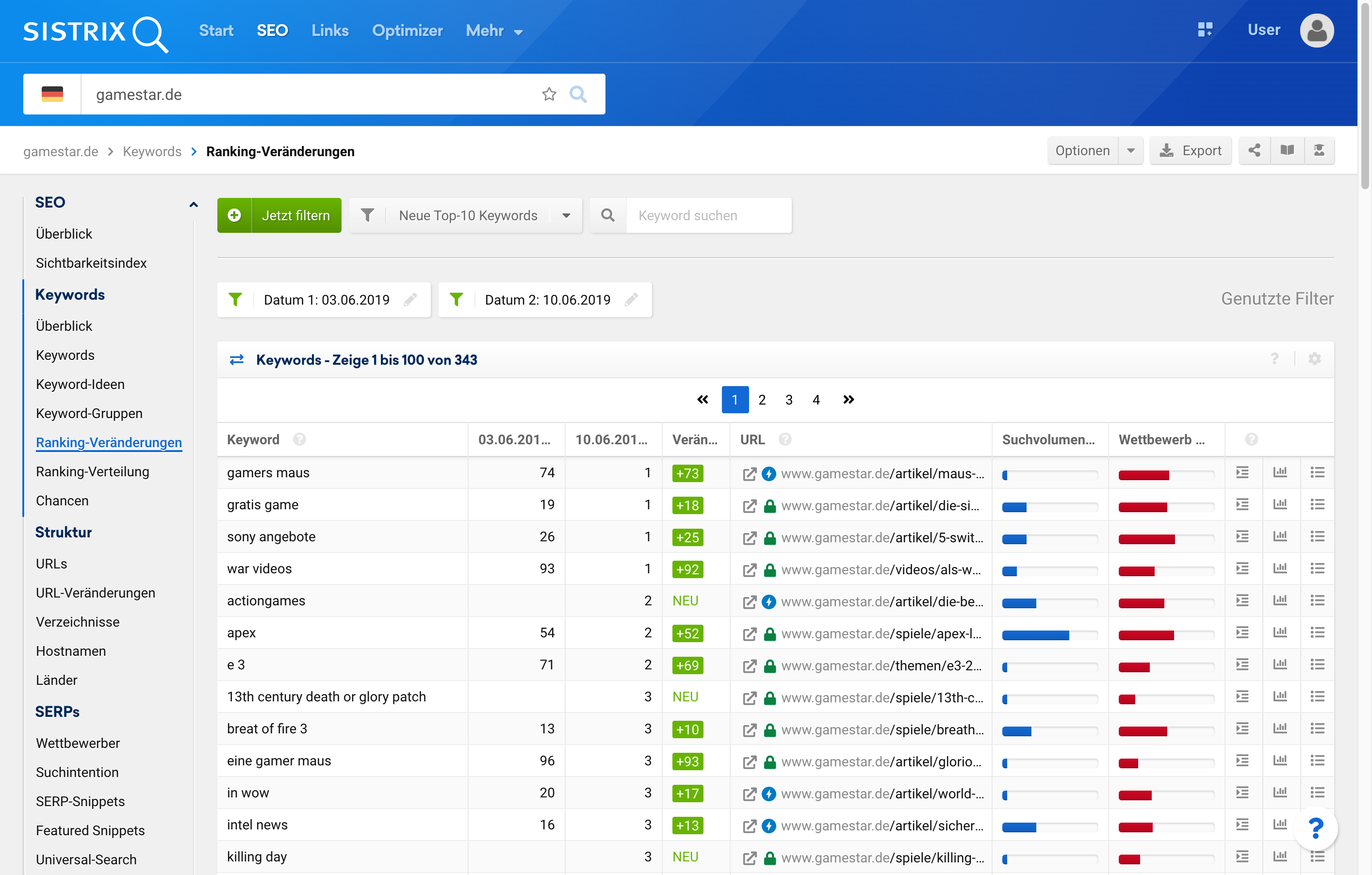 Beispiel der Gegenüberstellung von Rankings einer Domain zu verschiedenen Kalenderwochen inklusive derer zeitlichen Entwicklung
