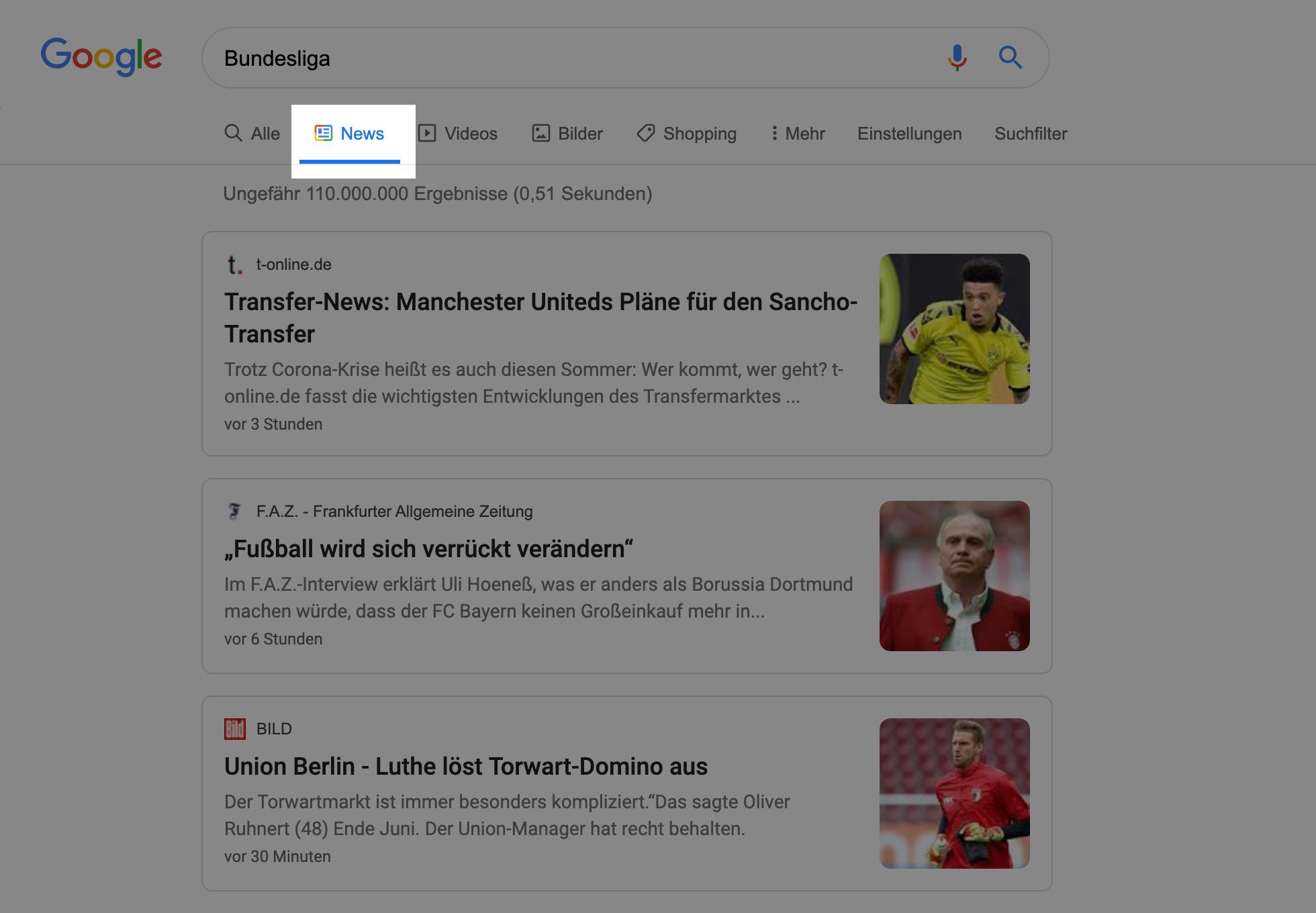 """Bild einer Goolge-Desktop-Suche nach """"Bundesliga"""". Die vertikale Suche """"Google News"""" ist hervorgehoben."""