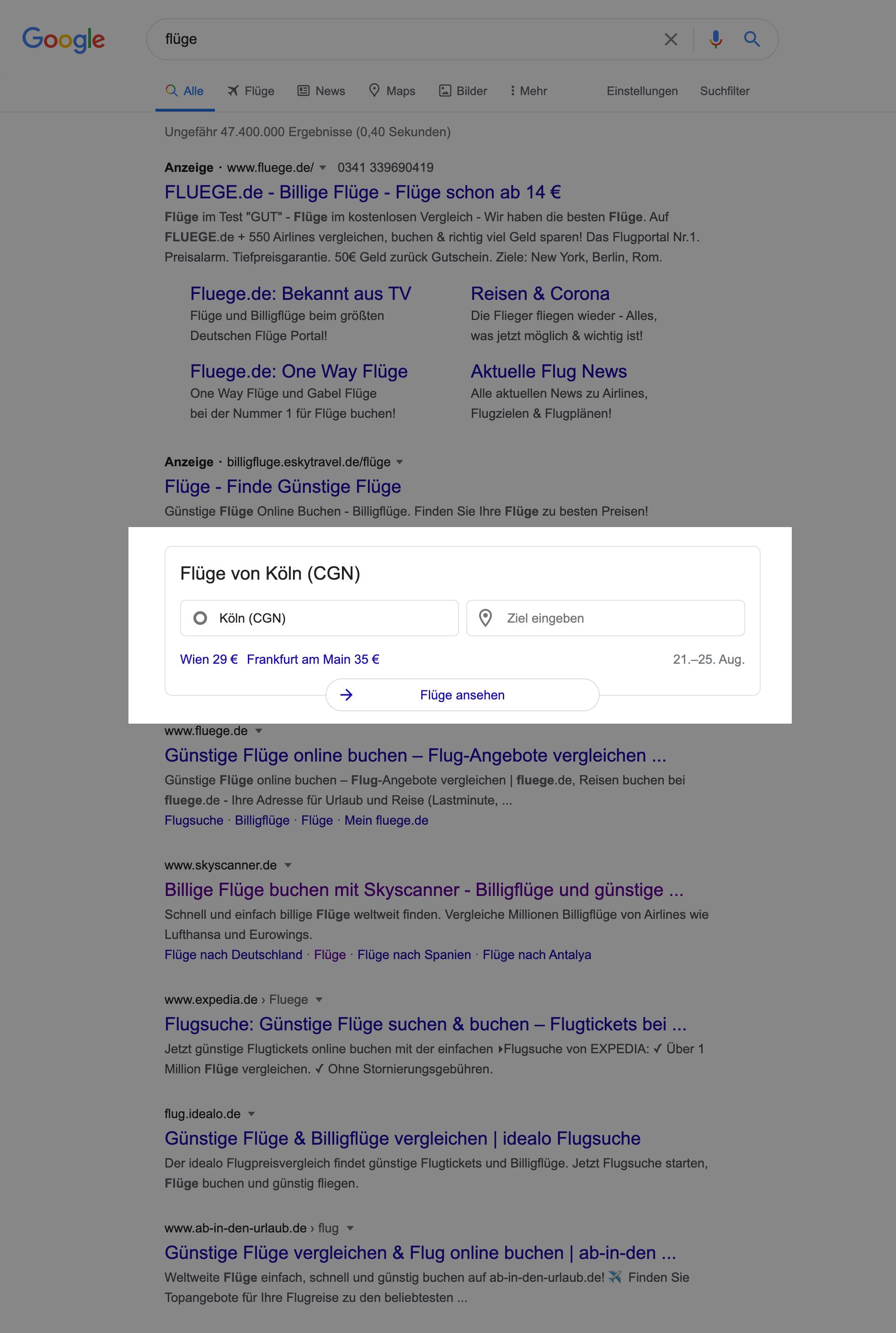 Zeigt die Google Flugsuche innerhalb der Google Suchergebnisse an.