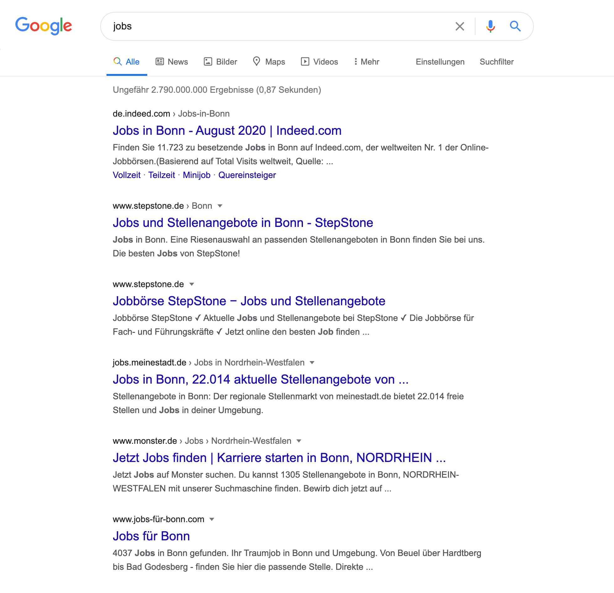 """Zeigt die Google Suchergebnisseite für das Keyword """"jobs"""" an."""
