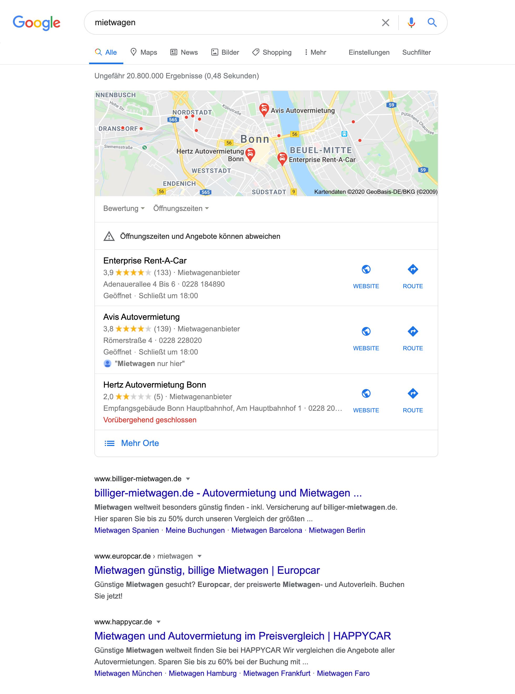 Zeigt die Google Maps Integration innerhalb der Google Suchergebnisse an.
