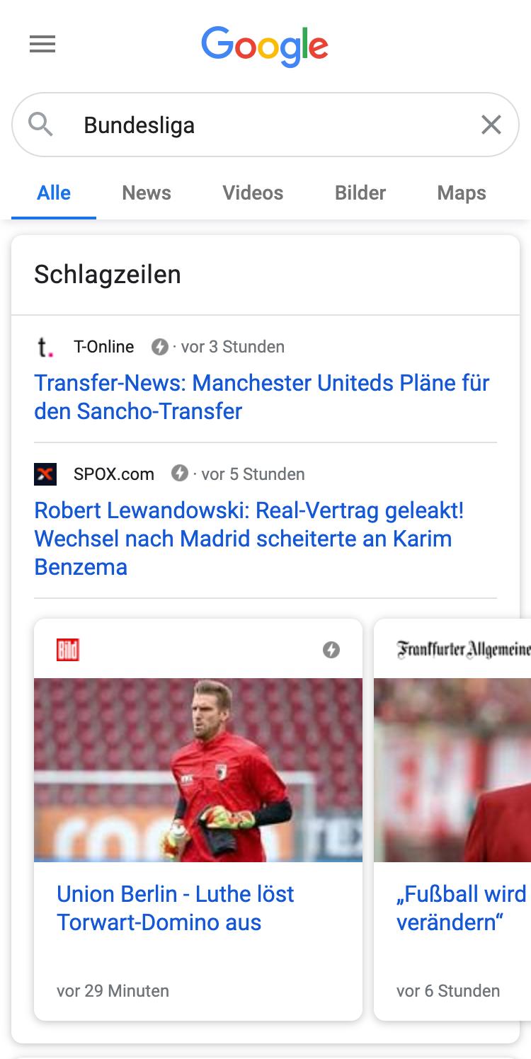 """Bild einer Goolge-Mobile-Suche nach """"Bundesliga"""". Das erste organische Ergebnis ist die """"Schlagzeilen"""" Box mit zwei News-Beiträgen und ein News-Karussell."""