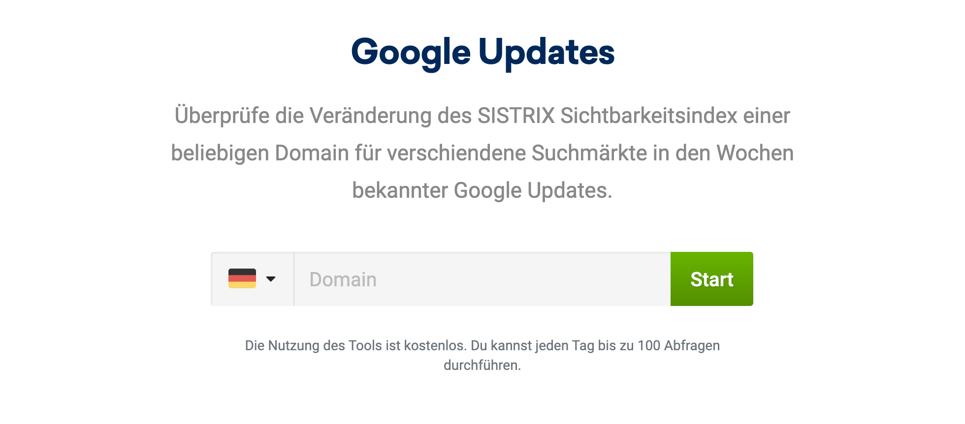 """Bild der Eingabemaske des """"Google Updates""""-Tool in den kostenfreien Tools auf der SISTRIX Webseite."""