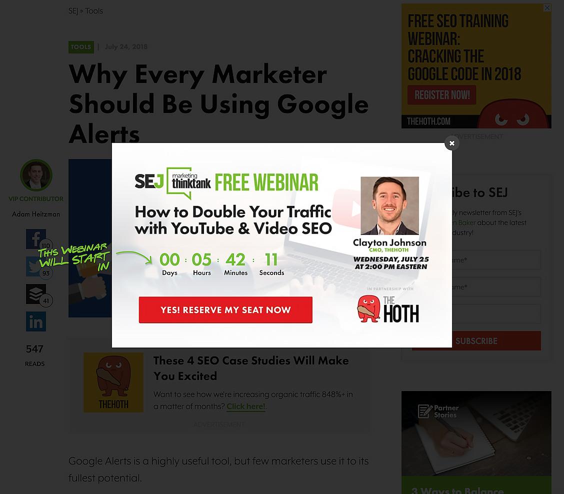 Zeigt ein Beispiel-Interstitial auf der Seite searchenginejournal.com an.