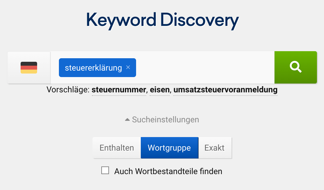 "Der Tool ""Keyword Discovery"" in der SISTRIX Toolbox"