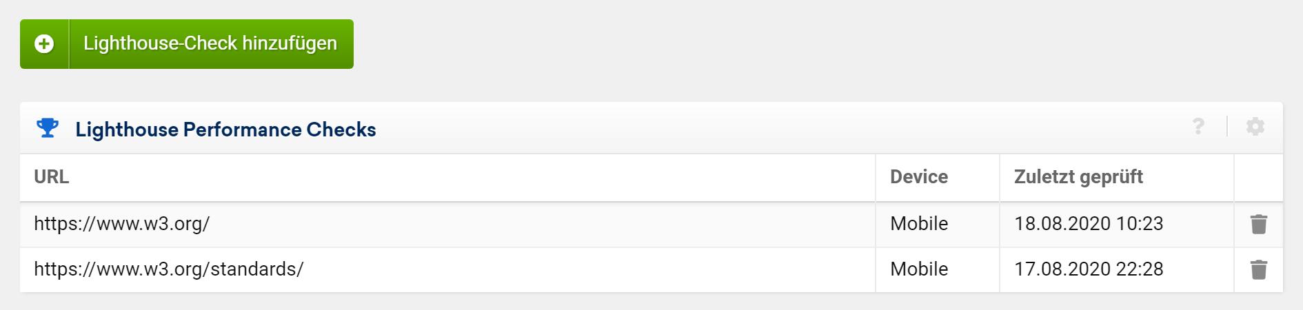 """du kannst andere URLs unter """"Performance-Überwachung"""" in den Einstellungen deines Optimizer-Projekts hinzufügen"""