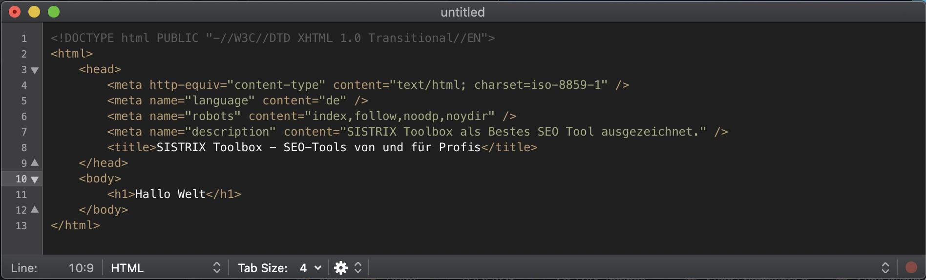 Quellcode: HTML-Markup in einem Editor mit mehreren Meta-Elementen.