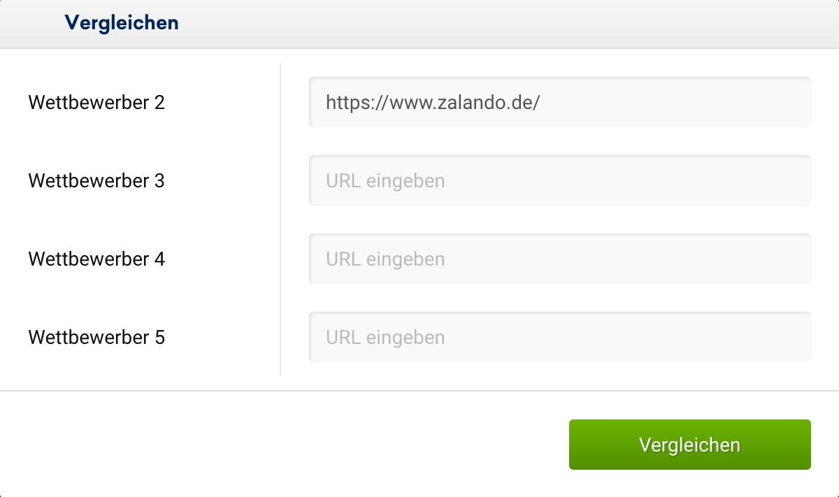 Auswahlbildschirm des URL-Vergleichs in dem bis zu 4 URLs eingetragen werden können.