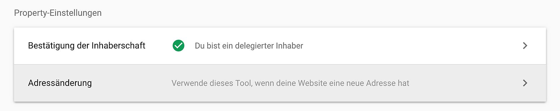 Adressänderung einer Domain in der Google Search Console hinterlegen.