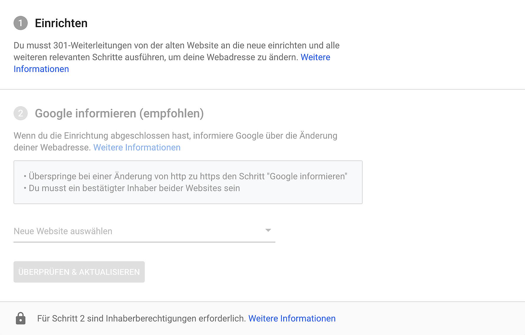 """Ansicht des """"Adressänderungs"""" Dialogfeldes in der Google Search Console."""