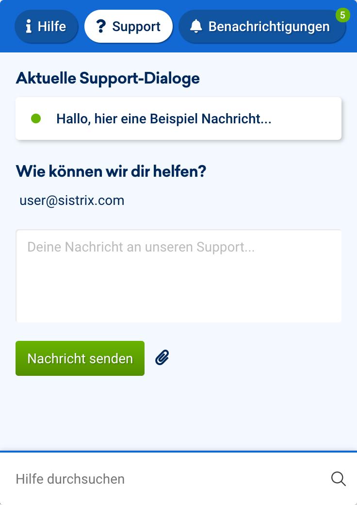Um ein Support-Ticket zu schreiben, musst du auf den Fragezeichen-Button in der unteren rechten Ecke des Bildschirms klicken, der auf jeder Seite der Toolbox zu finden ist.