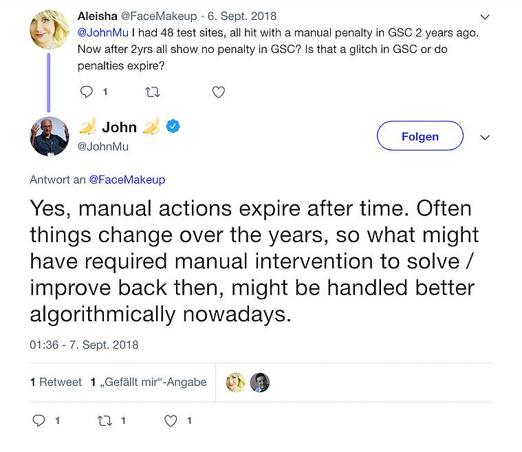 Twitter Nachricht von John Mueller, in der er daran erinnert, dass manuelle Maßnahmen ablaufen können.