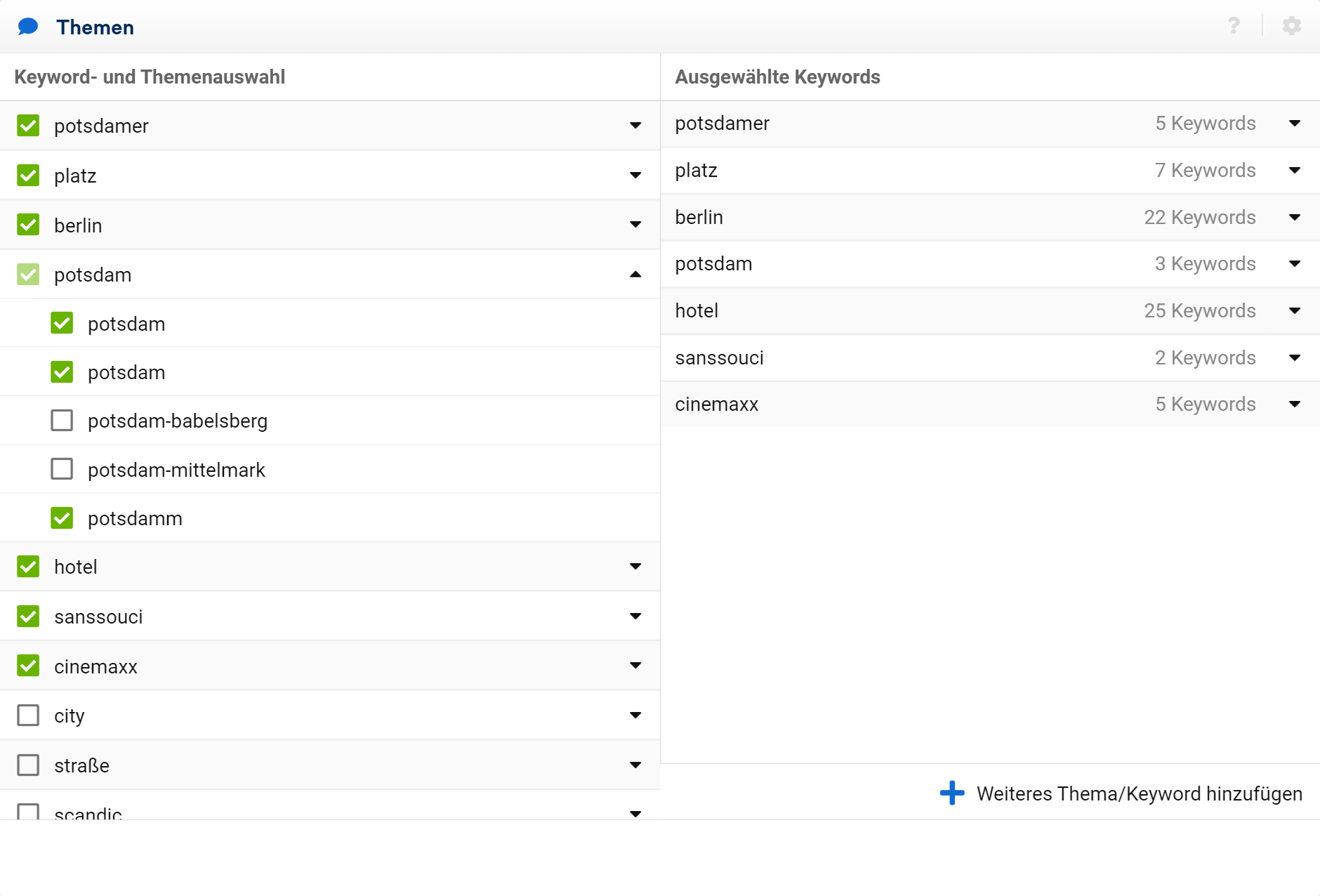 """Wähle die Keywords aus, die du in deinem Projekt sehen möchtest oder füge neue hinzu. Die hinzugefügten Keywords werden in der """"Themen""""-Box auf der rechten Seite des Editors angezeigt."""