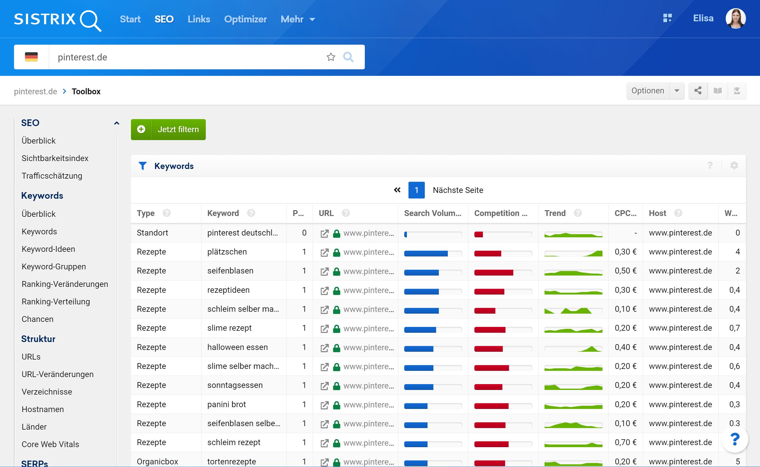 """Die Tabelle """"Keyword Typen"""" im SISTRIX Toolbox"""
