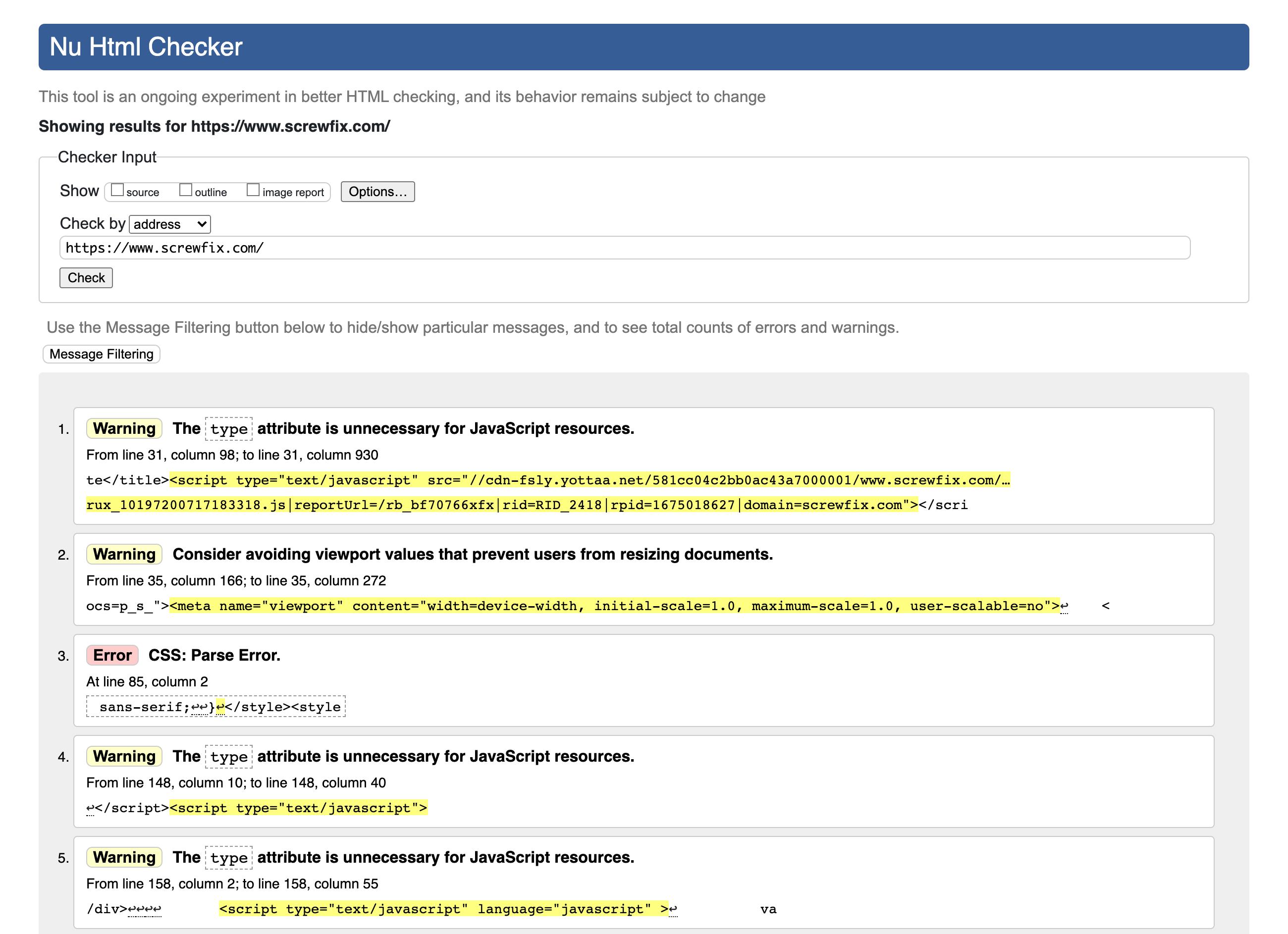 Zeigt die Validierungs-Ergebnisse für die Domain screwfix.com auf der Seite validator.w3.org.