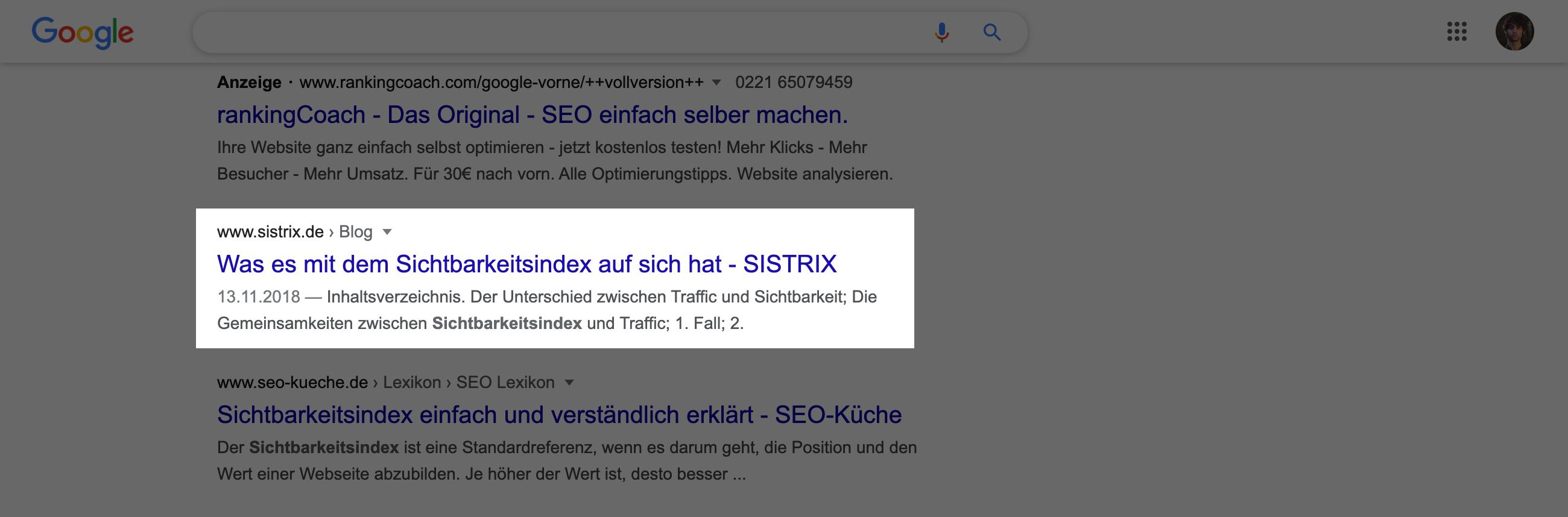 Suchtreffer in den Google-Suchergebnissen. Der Titel hat hier 56 Zeichen.
