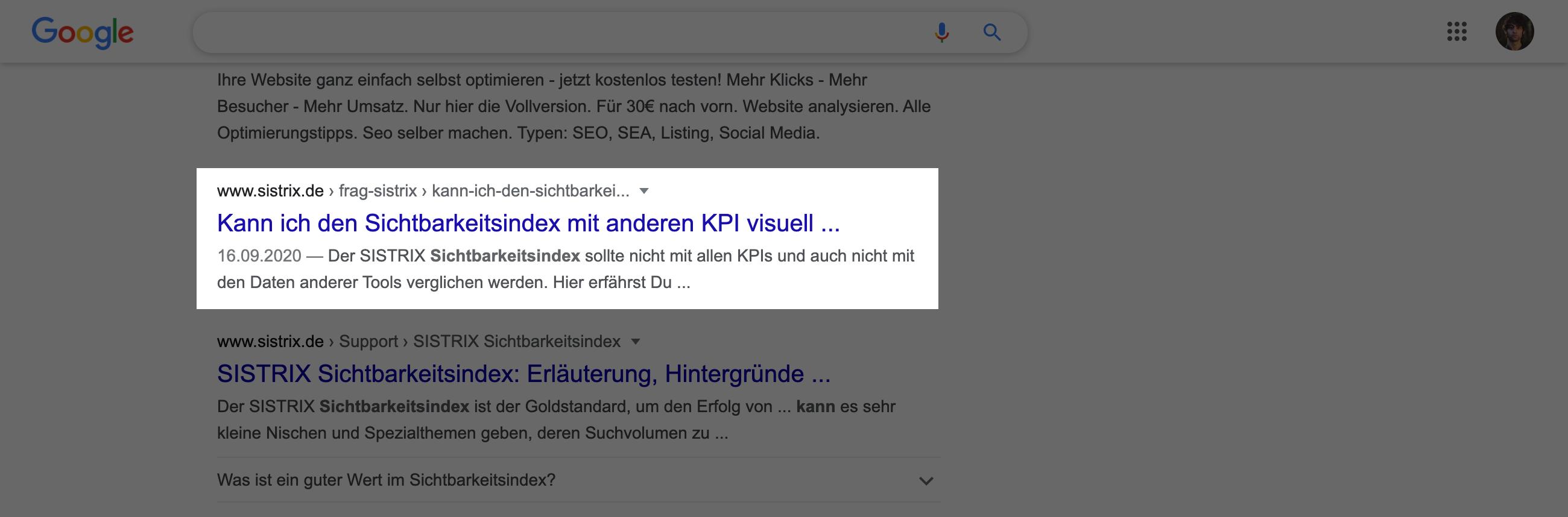 Suchtreffer in den Google-Suchergebnissen. Der Titel hat hier mehr als 59 Zeichen und wird verkürzt dargestellt.