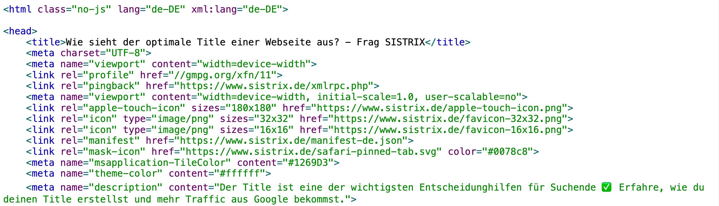 """Quelltext-Ausschnitt der Seite """"Wie sieht der optimale Title einer Webseite aus?"""""""
