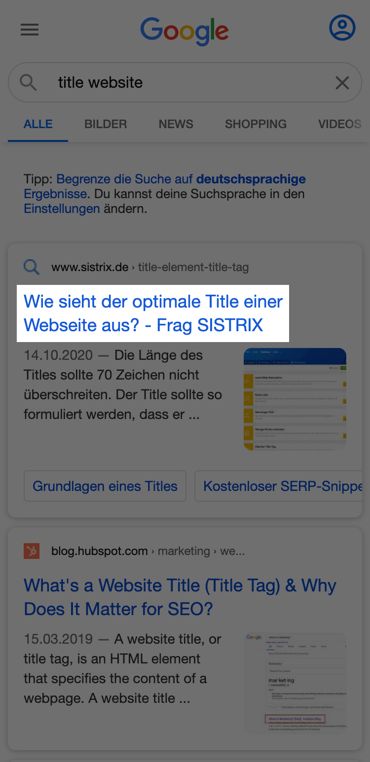 """Beispiel-Suchergebnis für die Keywordanfrage """"title website"""". Der Title wird im Snippet hervorgehoben."""