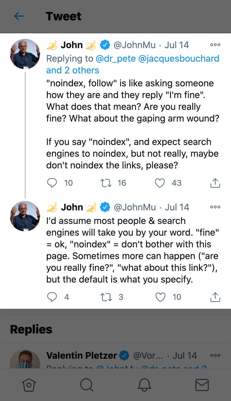 Tweet von John Mueller erklärt was genau noindex, follow bedeutet.