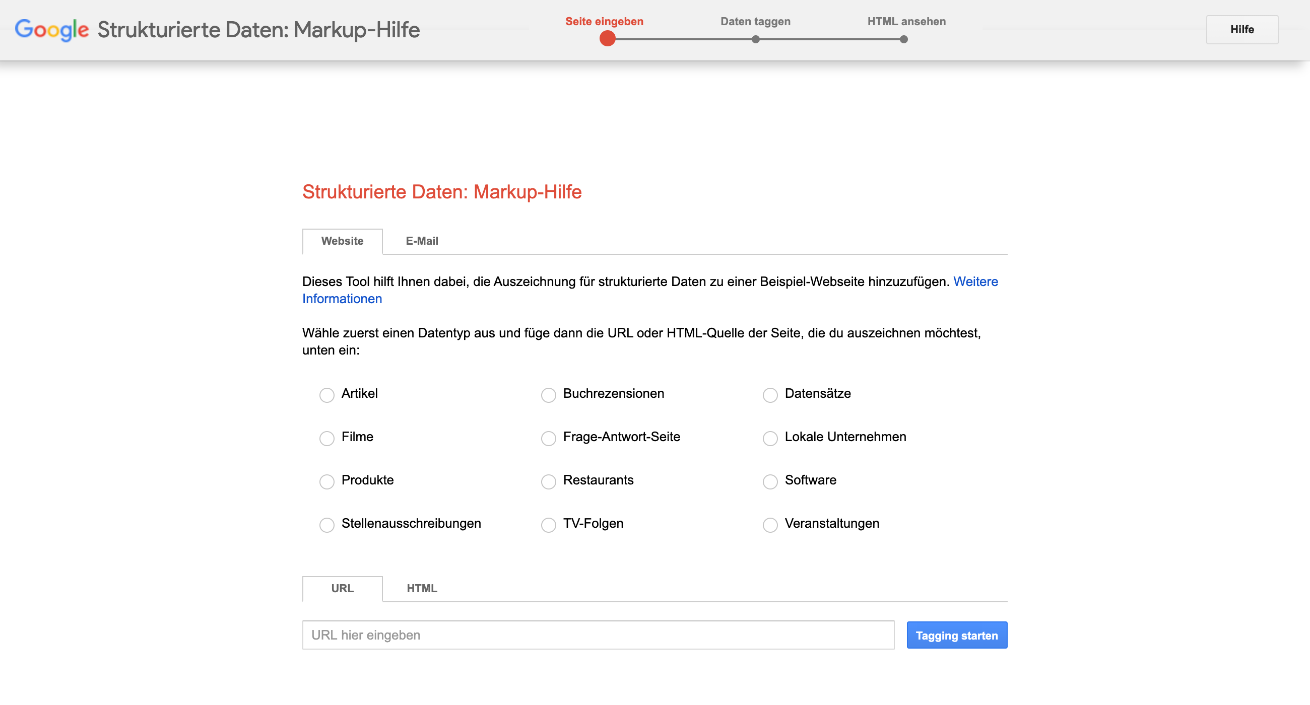 Screenshot der Markup-Hilfe für Strukturierte Daten von Google.