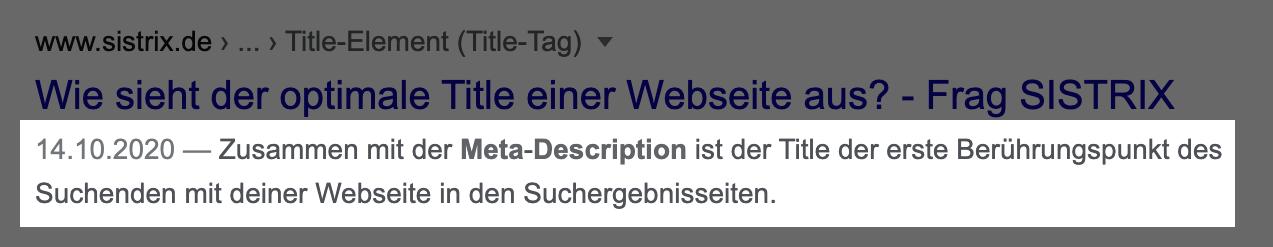 Beispielbild für ein Suchergebnis bei Google. Die Meta-Beschreibung ist hier zur Kennzeichnung hervorgehoben.