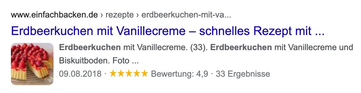 Rich-Snippet-Beispiel auf einer Suchergebnisseite von Google.