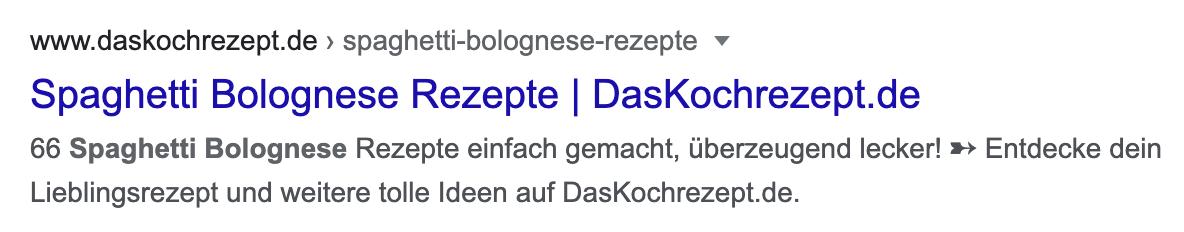 Standard-Suchergebnis-Beispiel auf der Suchergebnisseite von Google.