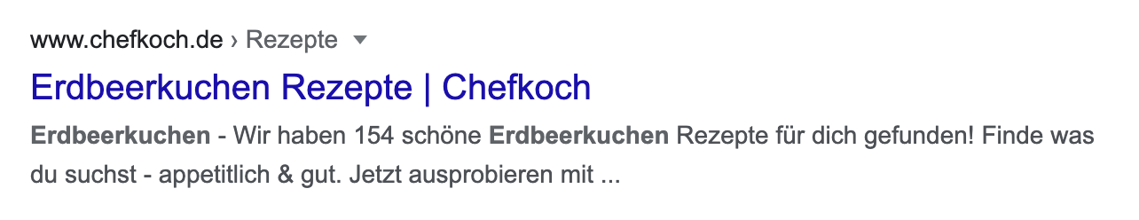 Standard-Snippet-Beispiel auf einer Suchergebnisseite von Google.