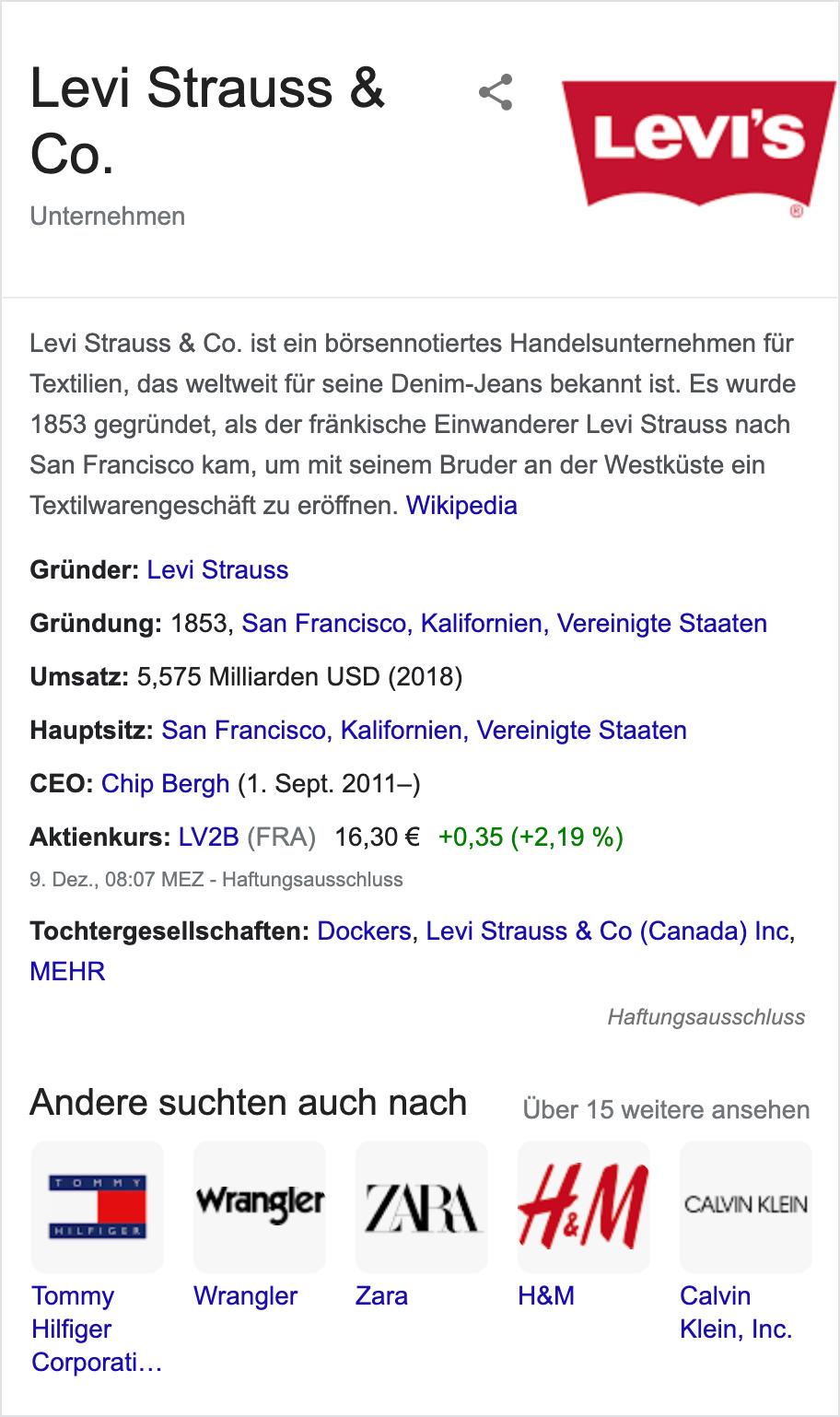 """Knowledge Graph, der in den Google Suchergebnissen für den Suchbegriff """"levi strauss & co"""" angezeigt wird. Im Knowledge Graph werden Informationen über den Gründer der Firma, Hauptsitz, Aktienkurs usw. angezeigt."""