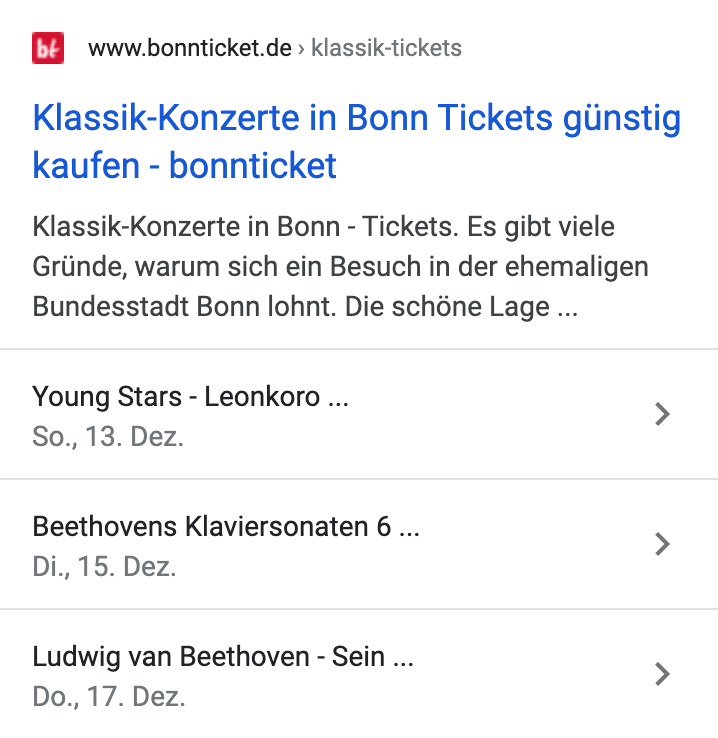 Beispiel-Event-Snippet auf einer Suchergebnisseite von Google.