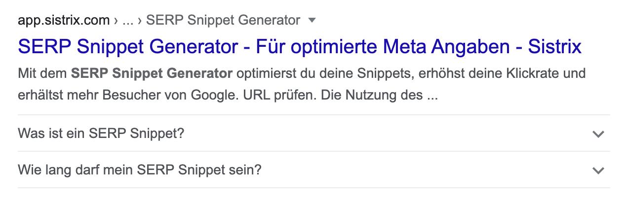 Beispiel eines FAQ Snippets auf der Suchergebnisseite von Google.