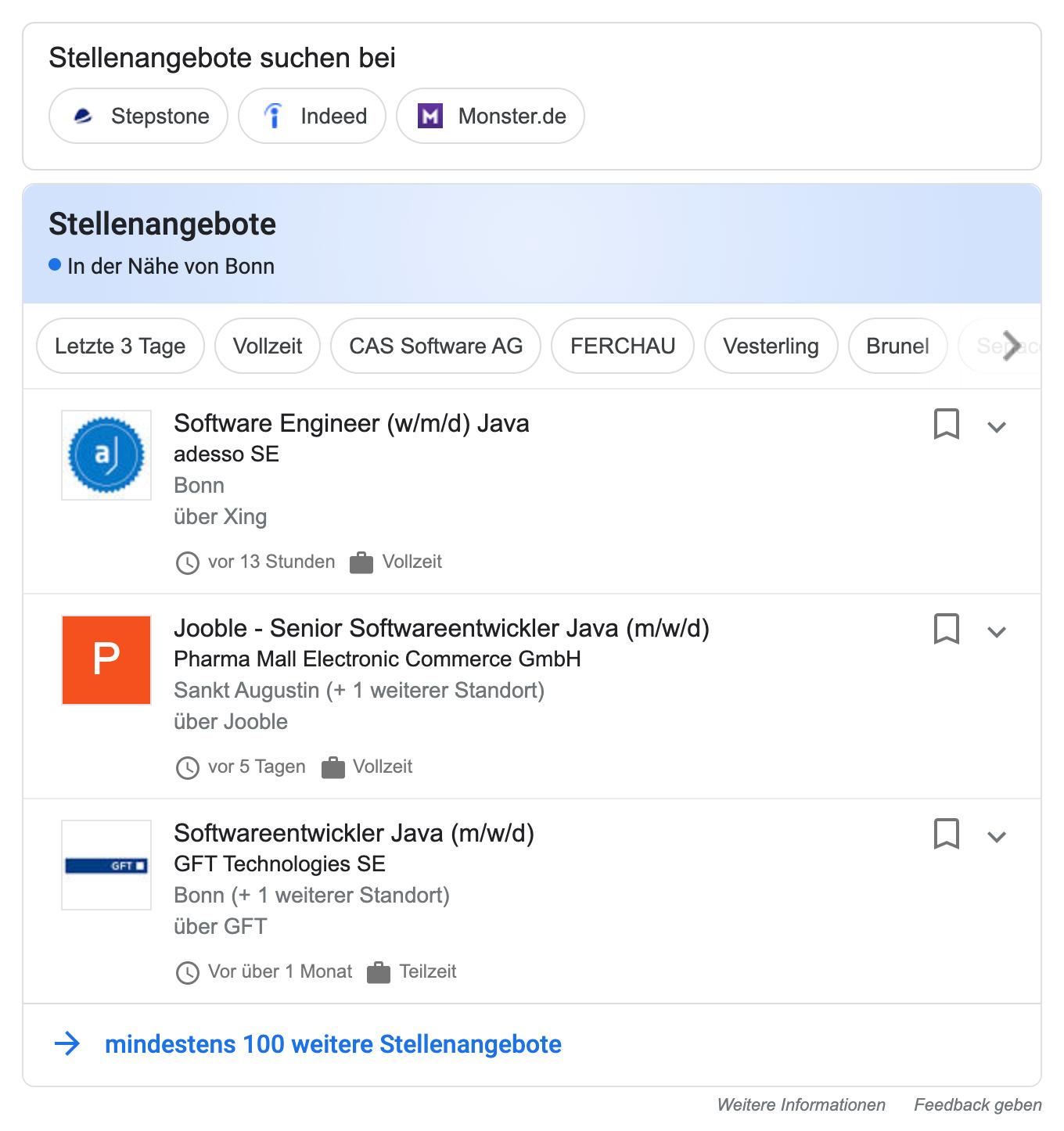 Job-Posting-Beispiel auf einer Suchergebnisseite von Google.