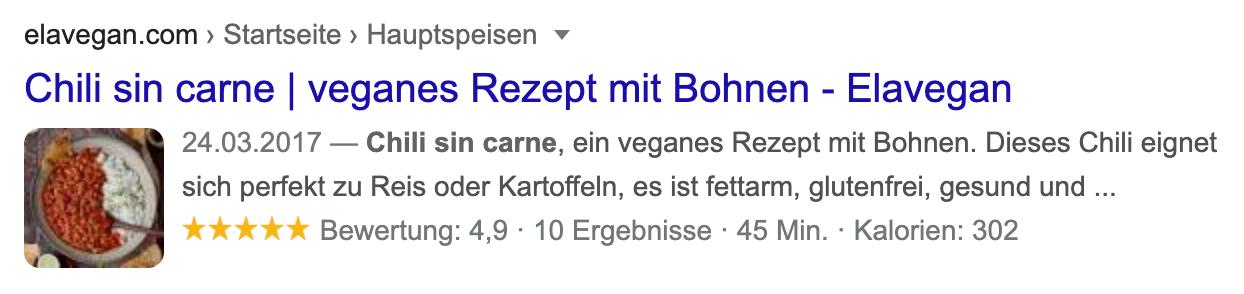 Beispiel-Suchtreffer auf einer Suchergebnisseite von Google.