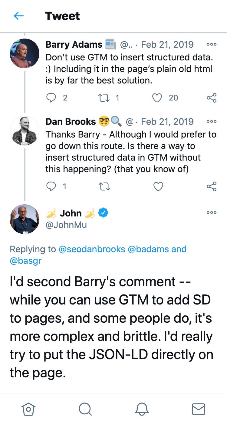 John Mueller von Google rät in einem Tweet dazu, strukturierte Daten manuell einzufügen.
