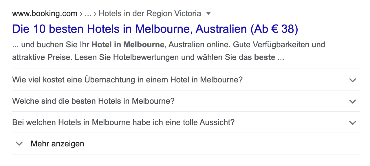 Suchtreffer (FAQ-Snippet) in den Google-Suchergebnissen.