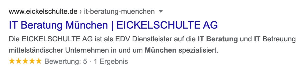 Suchtreffer in den Google-Suchergebnissen