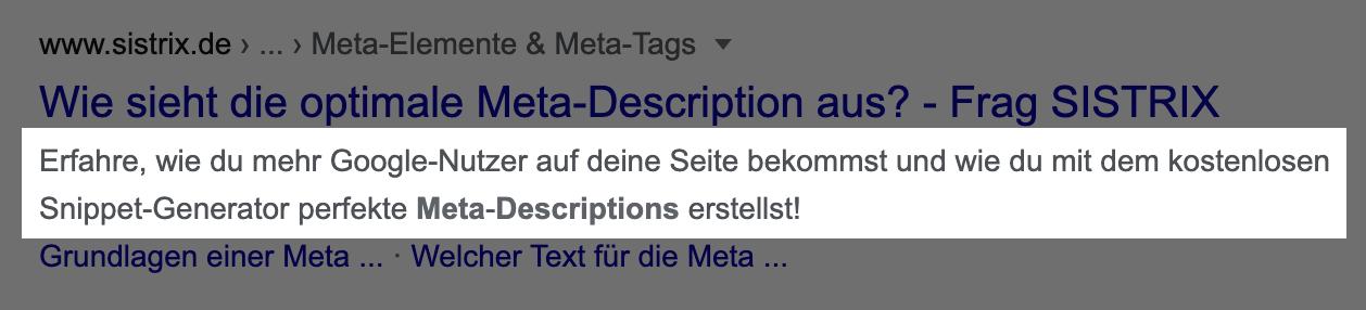 Suchtreffer in den Google-Suchergebnissen. Die Meta-Description wurde hier hervorgehoben.