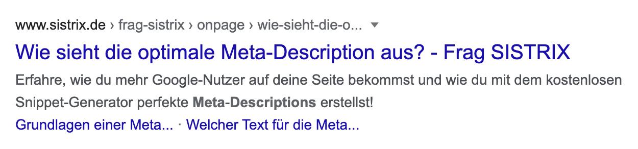 """Google-Suchergebnis für die Seite """"Wie sieht die optimale Meta-Description aus?"""" aus der Frag-SISTRIX Wissensdatenbank."""