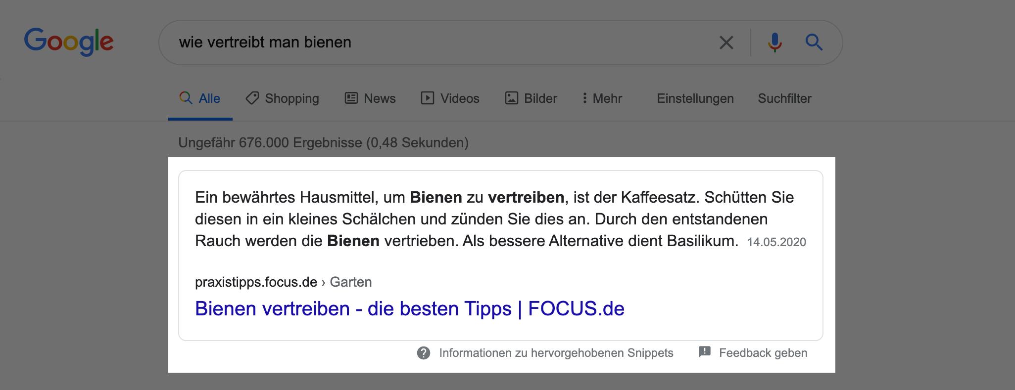 """Zeigt ein Beispiel-Featured Snippet in den Google Suchergebnissen für den Suchbegriff """"wie vertreibt man bienen"""" an."""
