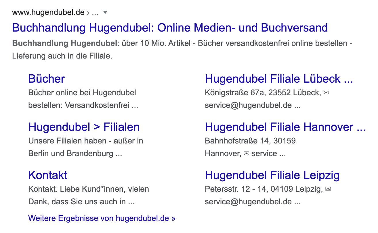 Zeigt ein Beispiel-Suchergebnis bei Google für die Seite hugendubel.de (Buchhandlung) an. Besonders ist hier, dass die Unterseiten der Webseite im Snippet angezeigt werden.
