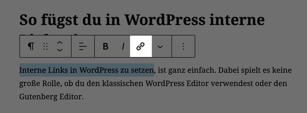 Link-Einfügen-Symbol im Gutenberg Editor in WordPress.