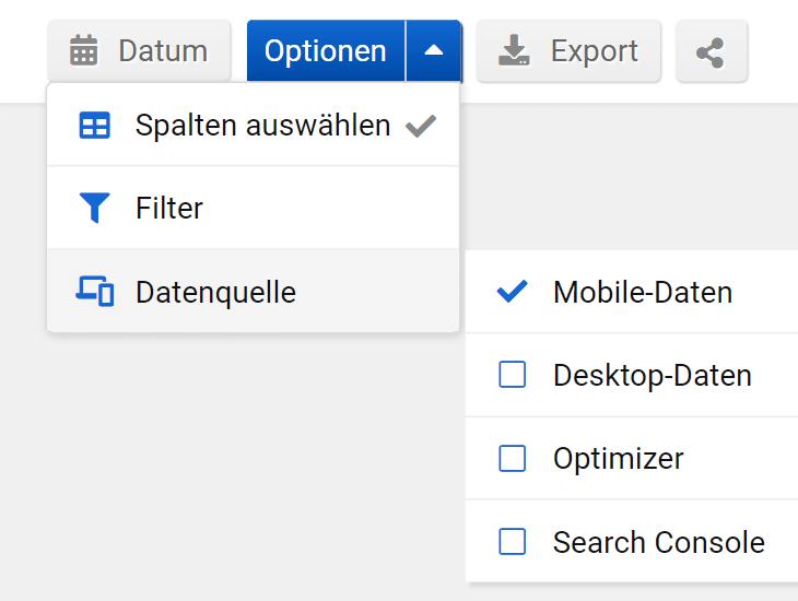 Top-Navigation in der SISTRIX Toolbox. Obi.de wurde in die Suchleiste eingegeben und in den Unterpunkt Keywords gewechselt. In der Zeile finden sich rechts die Options-Buttons für ein Datum, die weiteren Optionen, der Mobile und Desktop Wechsler und die Export- und Sharing-Buttons.