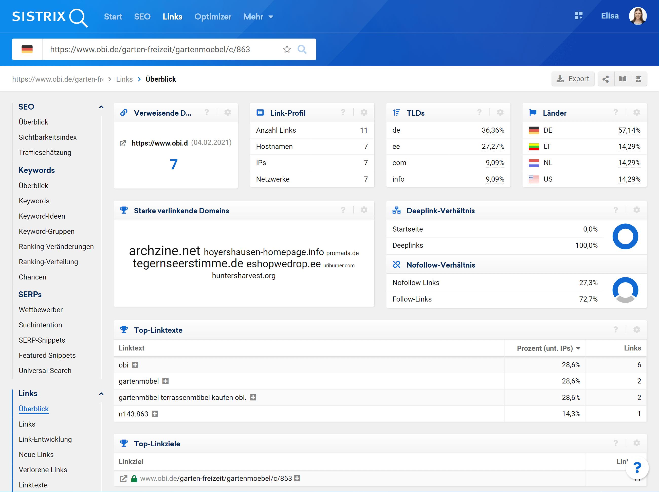 Ansicht der Links-Überblick-Seite der Toolbox bei Eingabe einer einzelnen URL in die Suchleiste.
