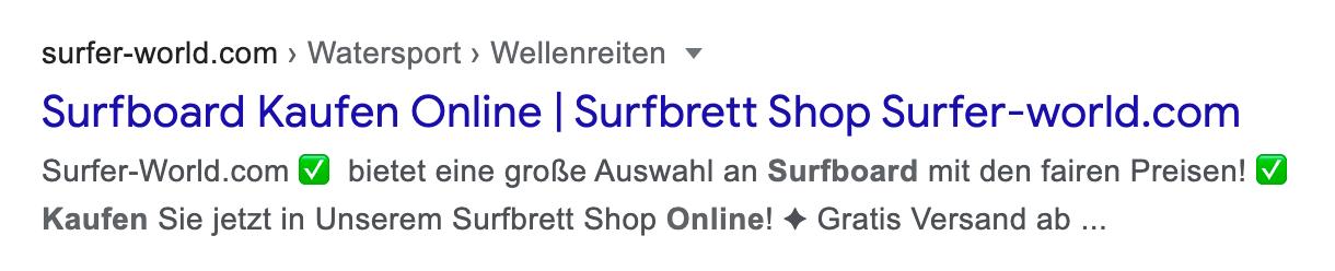 """Zeigt ein Google-Suchergebnis für der Seite surfer-world.com an. Der Suchbegriff lautet """"surfboard kaufen online"""". Die Meta-Description wurde hier von Google abgeschnitten."""