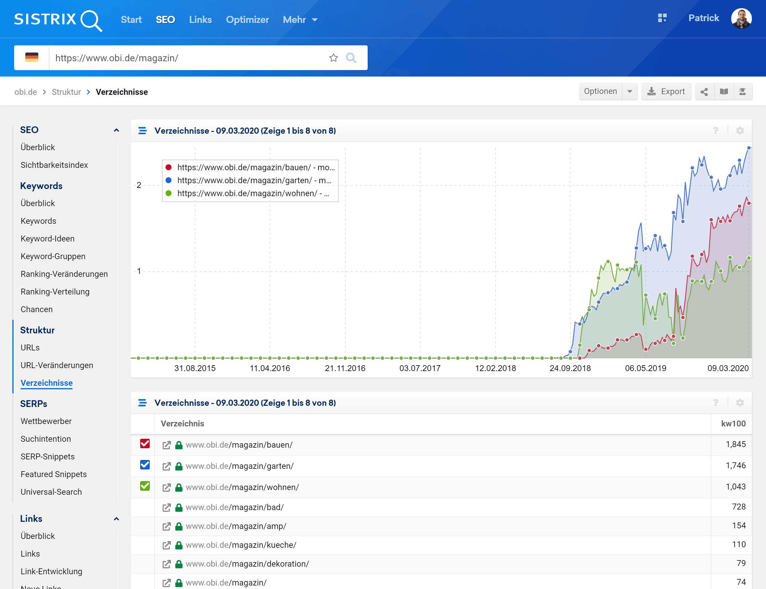 Vergleiche Verzeichnisse einer Domain in der SISTRIX Toolbox.